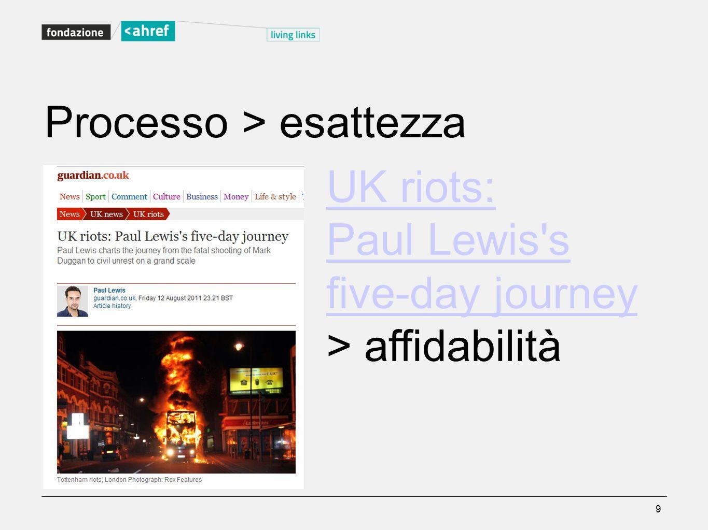 Processo > esattezza UK riots: Paul Lewis's five-day journey > affidabilità 9