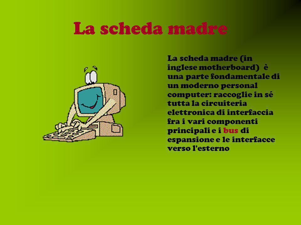 La scheda madre La scheda madre (in inglese motherboard) è una parte fondamentale di un moderno personal computer: raccoglie in sé tutta la circuiteria elettronica di interfaccia fra i vari componenti principali e i bus di espansione e le interfacce verso l esterno
