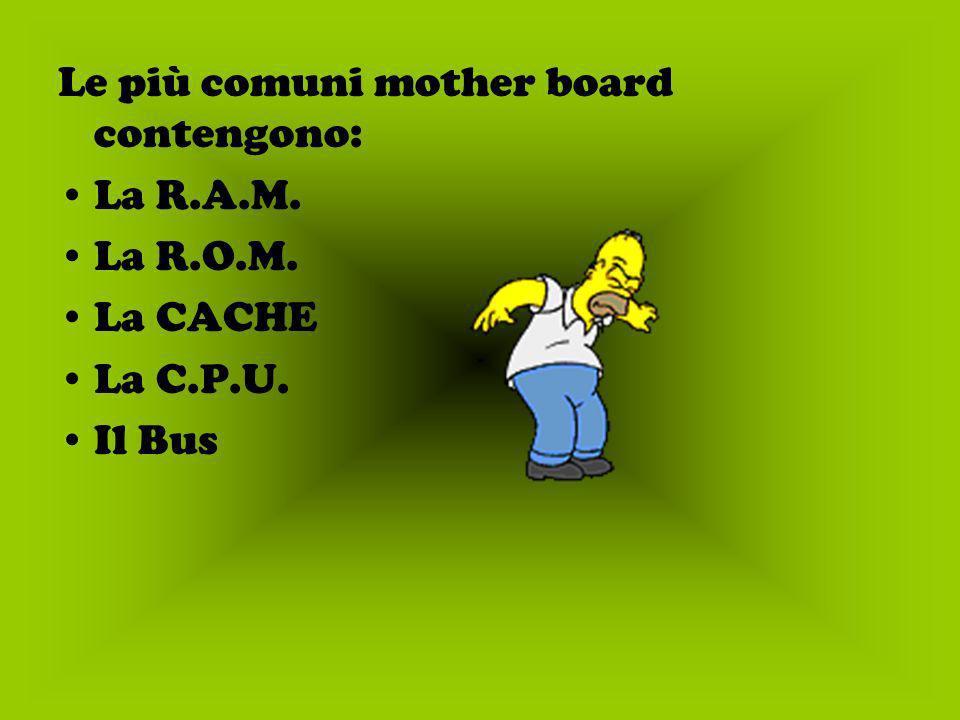 Le più comuni mother board contengono: La R.A.M. La R.O.M. La CACHE La C.P.U. Il Bus