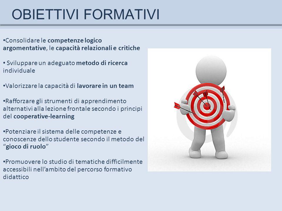 OBIETTIVI FORMATIVI Consolidare le competenze logico argomentative, le capacità relazionali e critiche Sviluppare un adeguato metodo di ricerca indivi