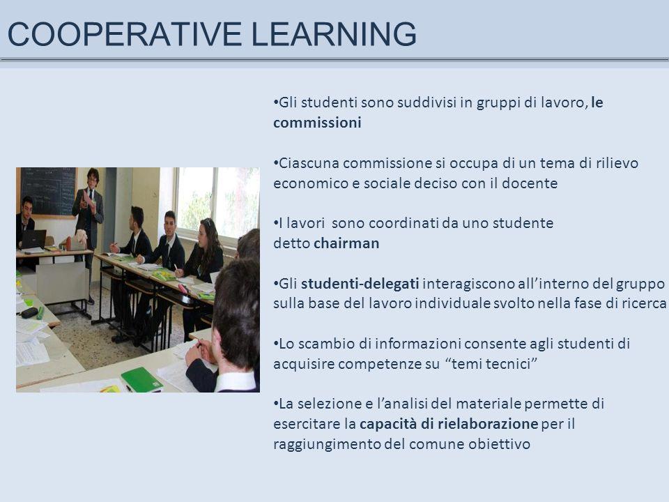 COOPERATIVE LEARNING Gli studenti sono suddivisi in gruppi di lavoro, le commissioni Ciascuna commissione si occupa di un tema di rilievo economico e