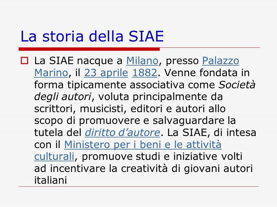 La storia della SIAE La SIAE nacque a Milano, presso Palazzo Marino, il 23 aprile 1882. Venne fondata in forma tipicamente associativa come Società de