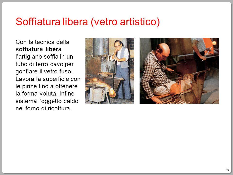 10 Soffiatura libera (vetro artistico) Con la tecnica della soffiatura libera lartigiano soffia in un tubo di ferro cavo per gonfiare il vetro fuso. L