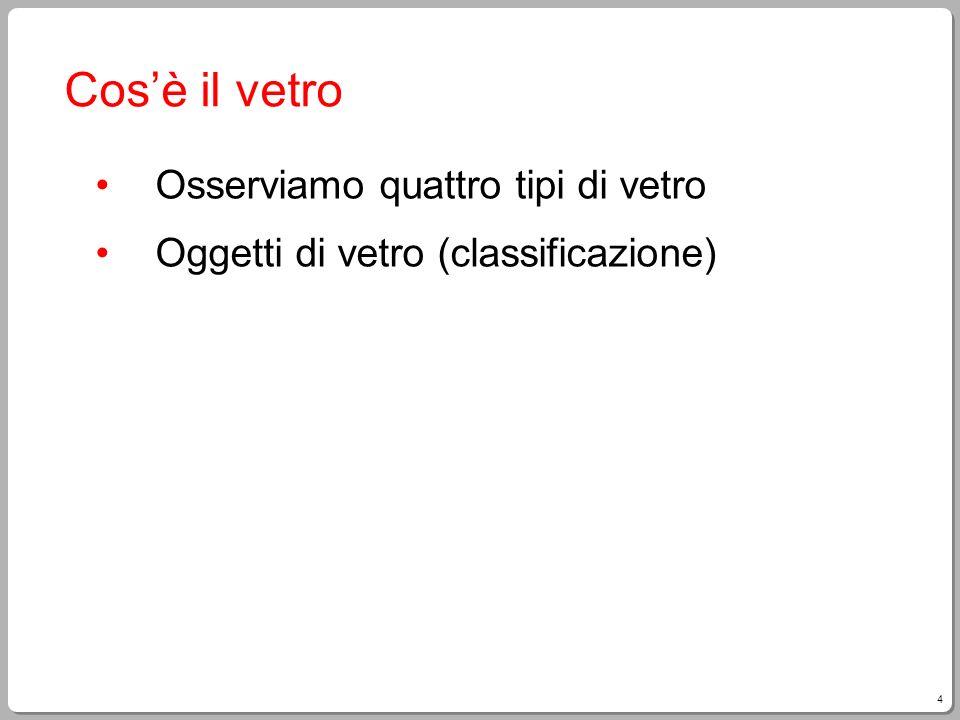 15 Riciclaggio in Italia In Italia quasi la metà del vetro prodotto è realizzato a partire da vetro riciclato.