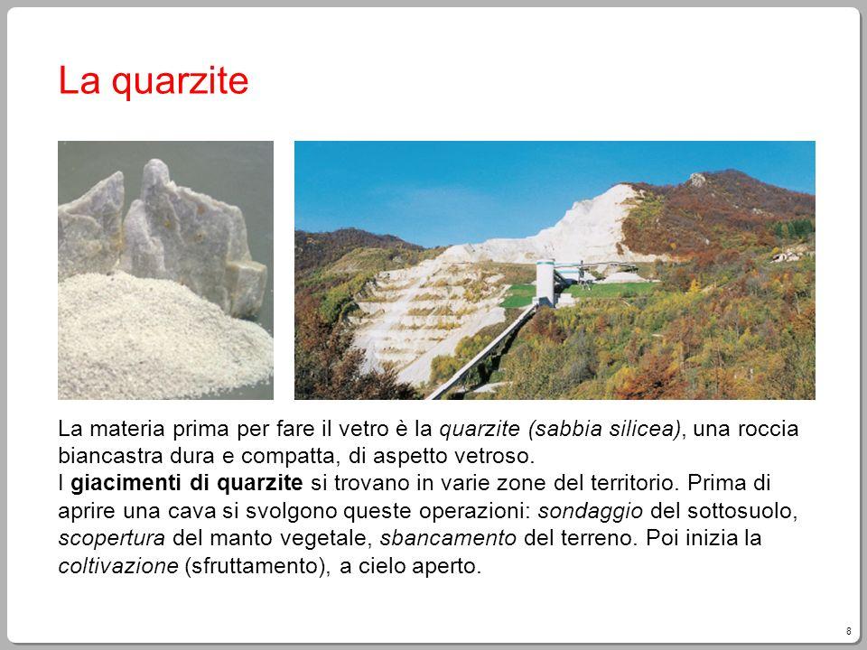 8 La quarzite La materia prima per fare il vetro è la quarzite (sabbia silicea), una roccia biancastra dura e compatta, di aspetto vetroso. I giacimen