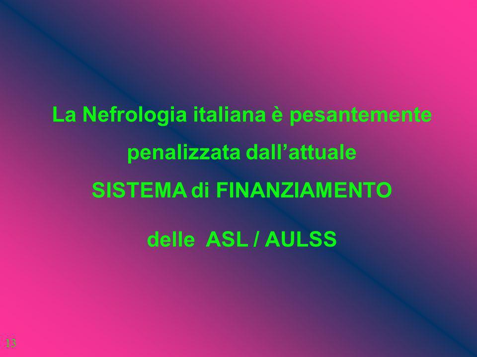 La Nefrologia italiana è pesantemente penalizzata dallattuale SISTEMA di FINANZIAMENTO delle ASL / AULSS 13