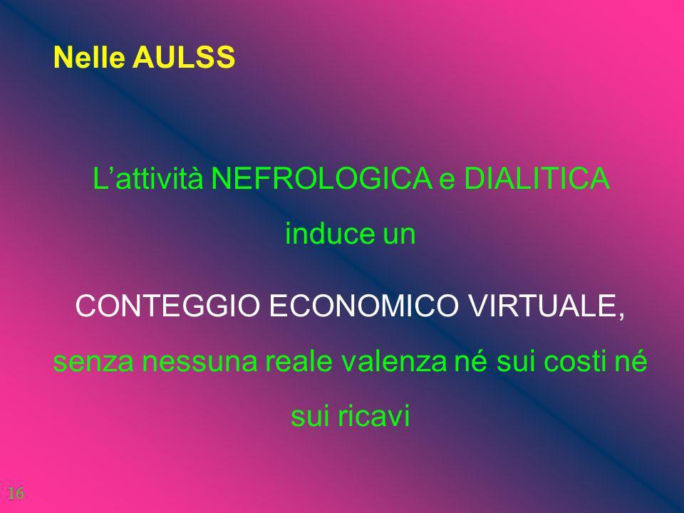 Nelle AULSS Lattività NEFROLOGICA e DIALITICA induce un CONTEGGIO ECONOMICO VIRTUALE, senza nessuna reale valenza né sui costi né sui ricavi 16