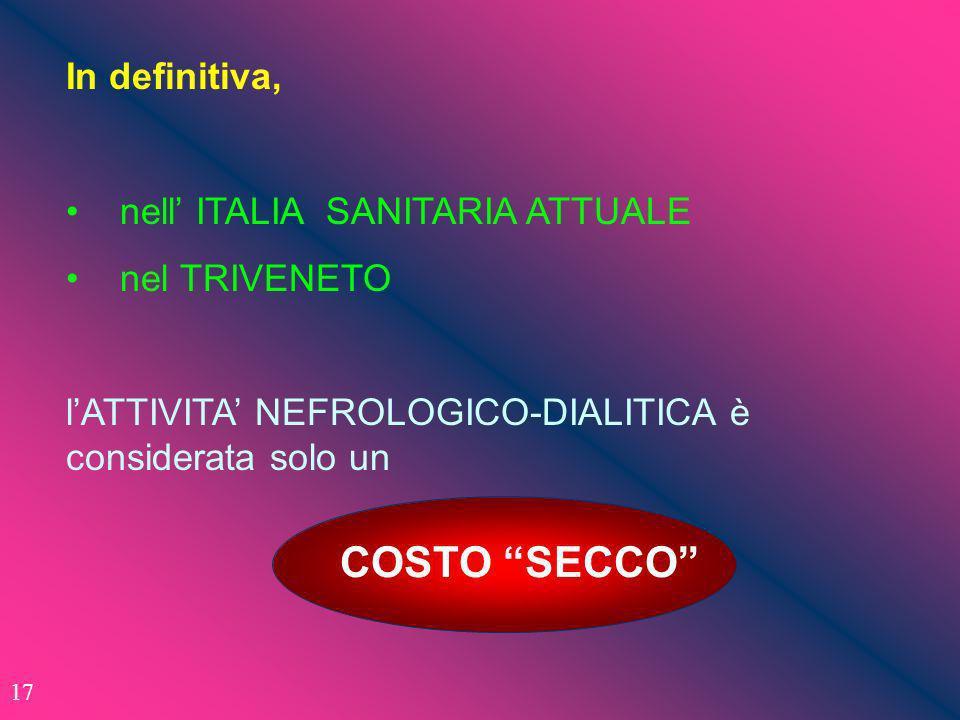 In definitiva, nell ITALIA SANITARIA ATTUALE nel TRIVENETO lATTIVITA NEFROLOGICO-DIALITICA è considerata solo un COSTO SECCO 17