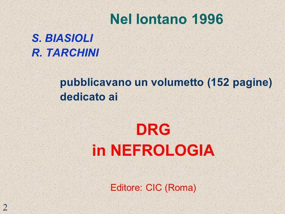 Nel lontano 1996 S. BIASIOLI R. TARCHINI pubblicavano un volumetto (152 pagine) dedicato ai DRG in NEFROLOGIA Editore: CIC (Roma) 2