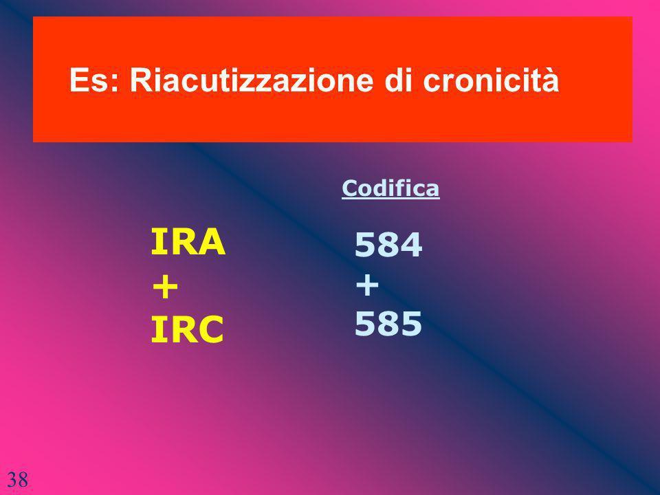 38 Es: Riacutizzazione di cronicità IRA + IRC Codifica 584 + 585