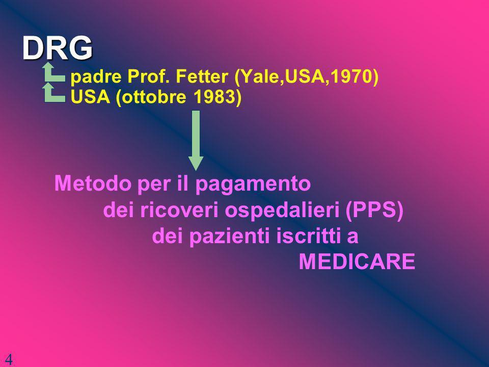 DRG DRG padre Prof. Fetter (Yale,USA,1970) USA (ottobre 1983) Metodo per il pagamento dei ricoveri ospedalieri (PPS) dei pazienti iscritti a MEDICARE