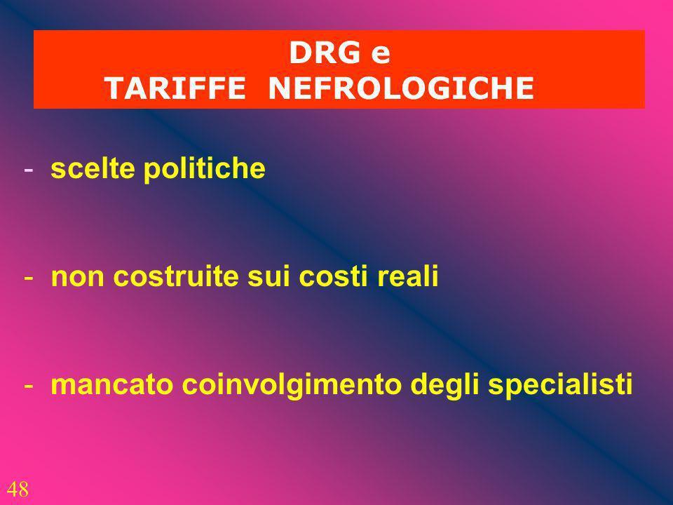 48 DRG e TARIFFE NEFROLOGICHE - scelte politiche - non costruite sui costi reali - mancato coinvolgimento degli specialisti