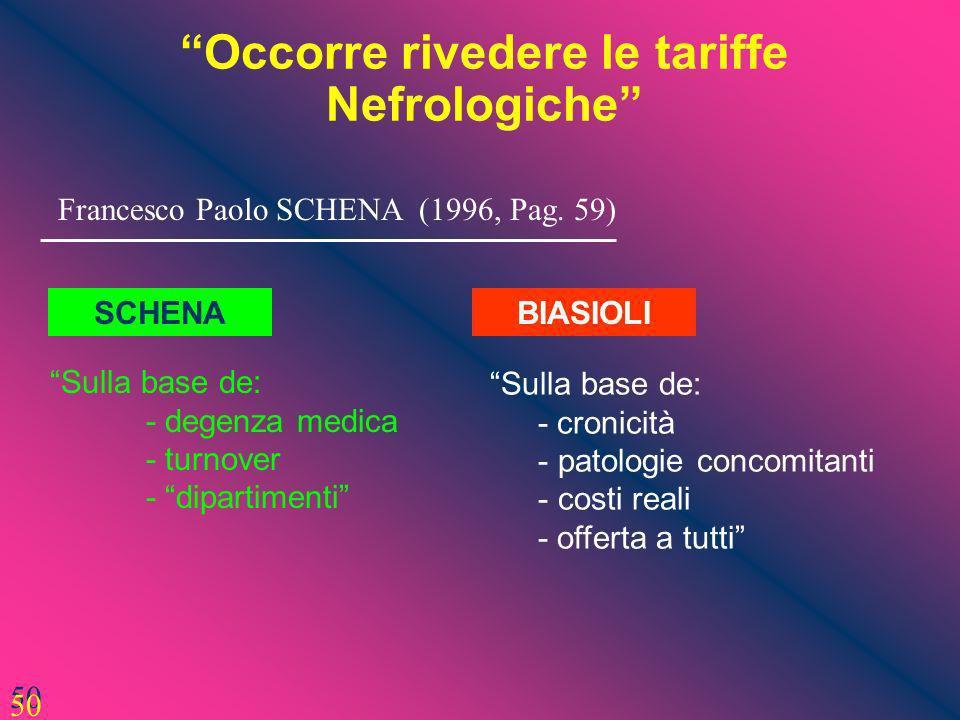 Occorre rivedere le tariffe Nefrologiche 50 Francesco Paolo SCHENA (1996, Pag. 59) Sulla base de: - degenza medica - turnover - dipartimenti 50 Sulla