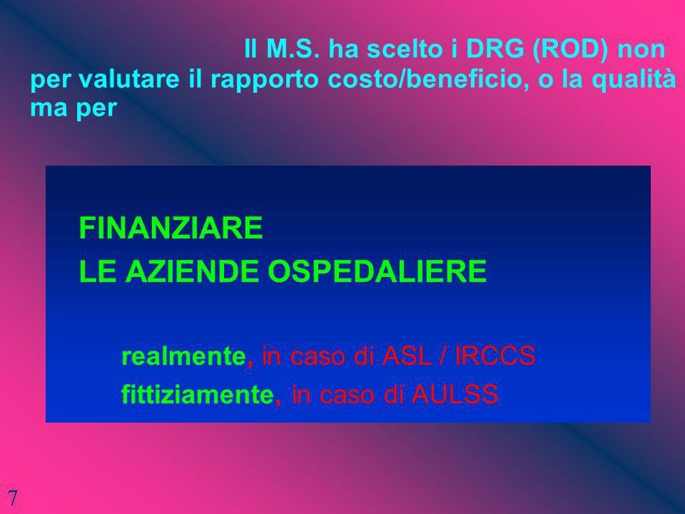 Il M.S. ha scelto i DRG (ROD) non per valutare il rapporto costo/beneficio, o la qualità ma per FINANZIARE LE AZIENDE OSPEDALIERE realmente, in caso d