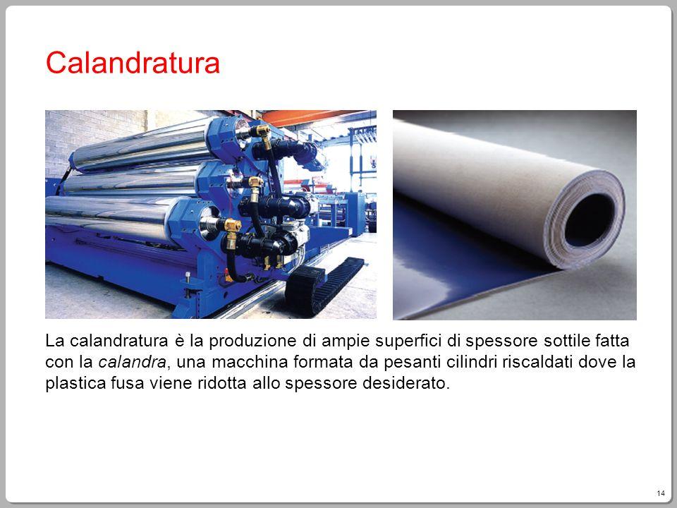 14 Calandratura La calandratura è la produzione di ampie superfici di spessore sottile fatta con la calandra, una macchina formata da pesanti cilindri