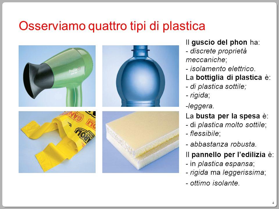 4 Osserviamo quattro tipi di plastica Il guscio del phon ha: - discrete proprietà meccaniche; - isolamento elettrico. La bottiglia di plastica è: - di