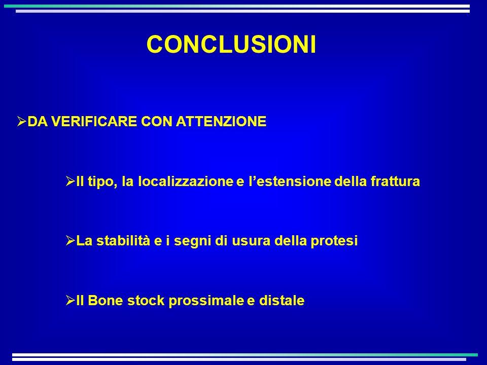 DA VERIFICARE CON ATTENZIONE Il tipo, la localizzazione e lestensione della frattura La stabilità e i segni di usura della protesi Il Bone stock prossimale e distale CONCLUSIONI