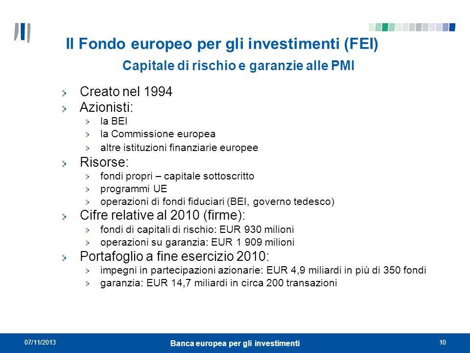 07/11/201310 Banca europea per gli investimenti Il Fondo europeo per gli investimenti (FEI) Creato nel 1994 Azionisti: la BEI la Commissione europea a