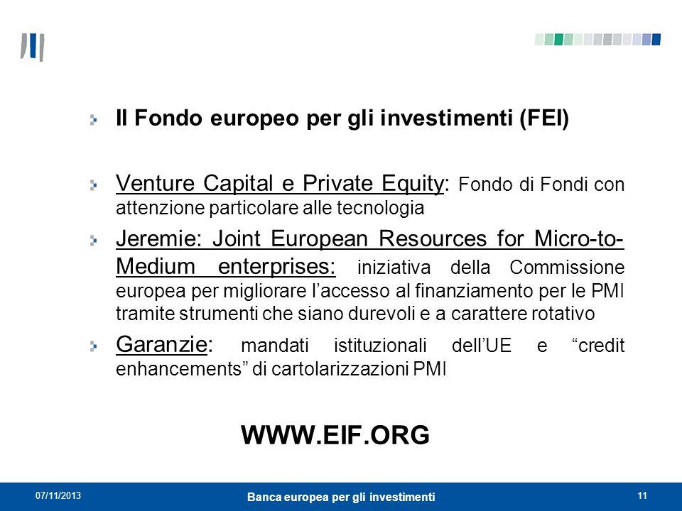 07/11/201311 Banca europea per gli investimenti Il Fondo europeo per gli investimenti (FEI) Venture Capital e Private Equity: Fondo di Fondi con atten