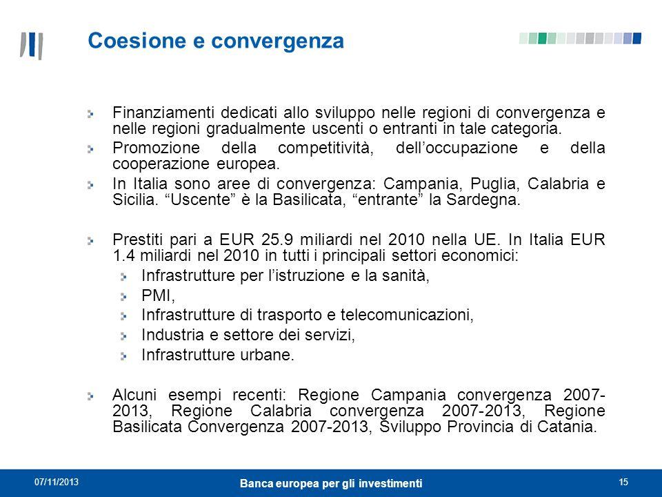 07/11/201315 Banca europea per gli investimenti Coesione e convergenza Finanziamenti dedicati allo sviluppo nelle regioni di convergenza e nelle regio