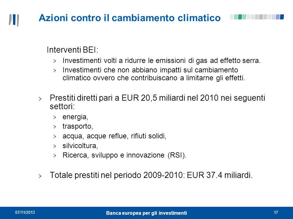 07/11/201317 Banca europea per gli investimenti Azioni contro il cambiamento climatico Interventi BEI: Investimenti volti a ridurre le emissioni di ga