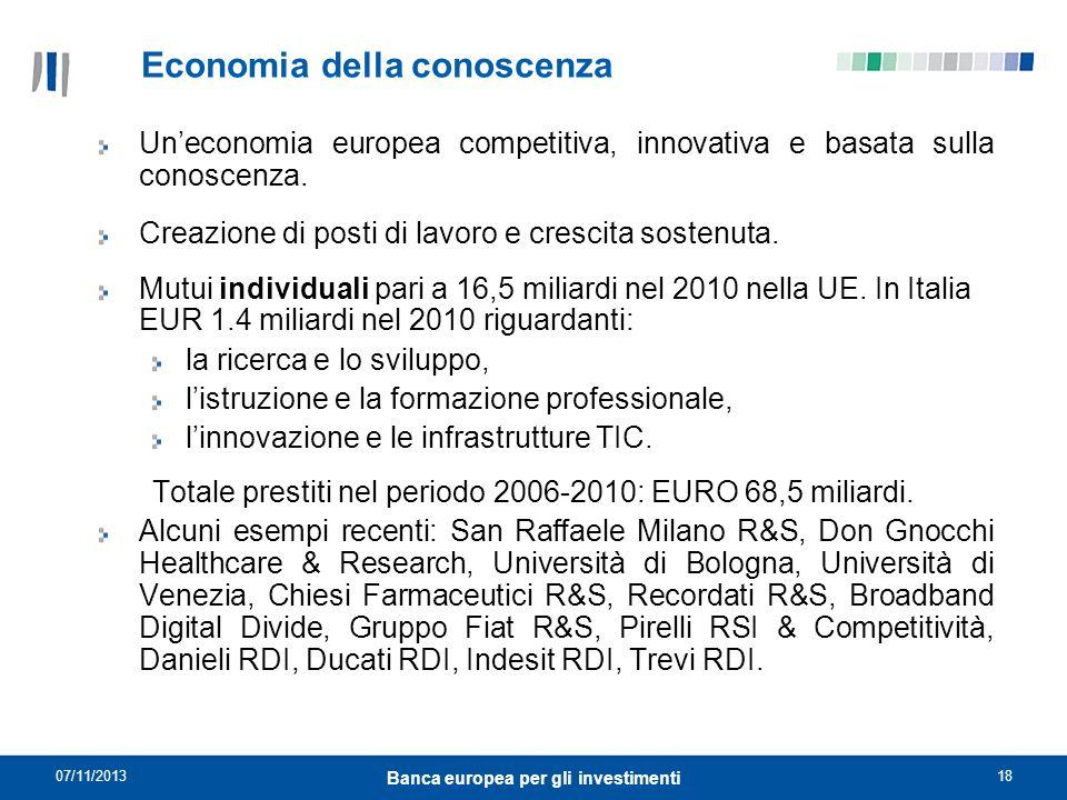 07/11/201318 Banca europea per gli investimenti Economia della conoscenza Uneconomia europea competitiva, innovativa e basata sulla conoscenza. Creazi