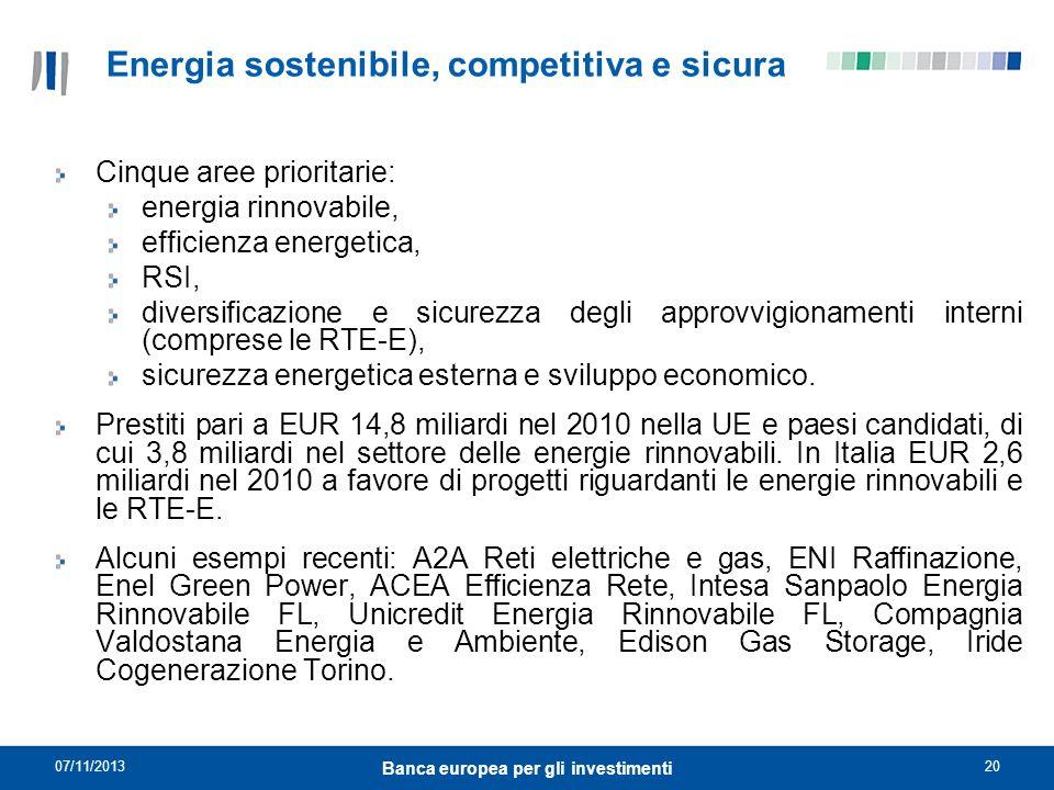 07/11/201320 Banca europea per gli investimenti Energia sostenibile, competitiva e sicura Cinque aree prioritarie: energia rinnovabile, efficienza ene