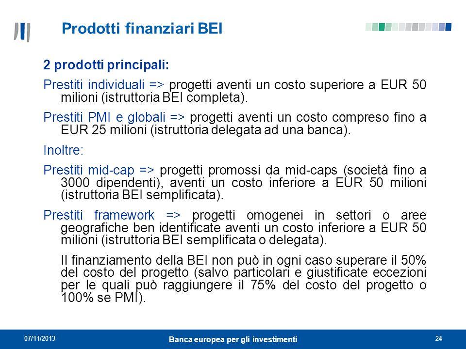 07/11/201324 Banca europea per gli investimenti Prodotti finanziari BEI 2 prodotti principali: Prestiti individuali => progetti aventi un costo superi