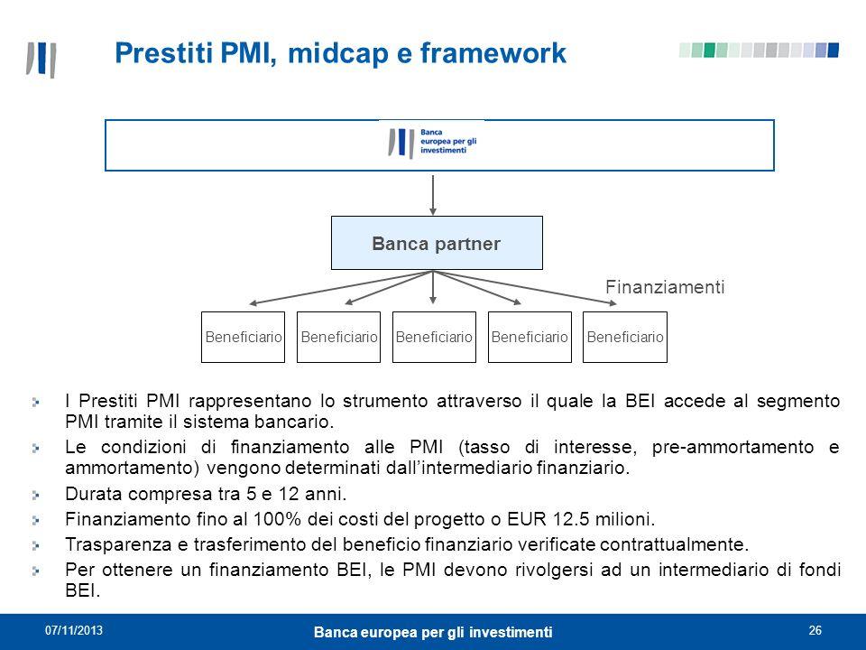 07/11/201326 Banca europea per gli investimenti Prestiti PMI, midcap e framework Banca partner Finanziamenti Beneficiario I Prestiti PMI rappresentano