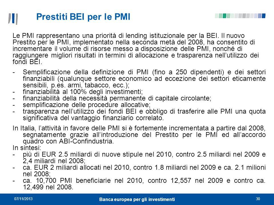 07/11/201330 Banca europea per gli investimenti Le PMI rappresentano una priorità di lending istituzionale per la BEI. Il nuovo Prestito per le PMI, i