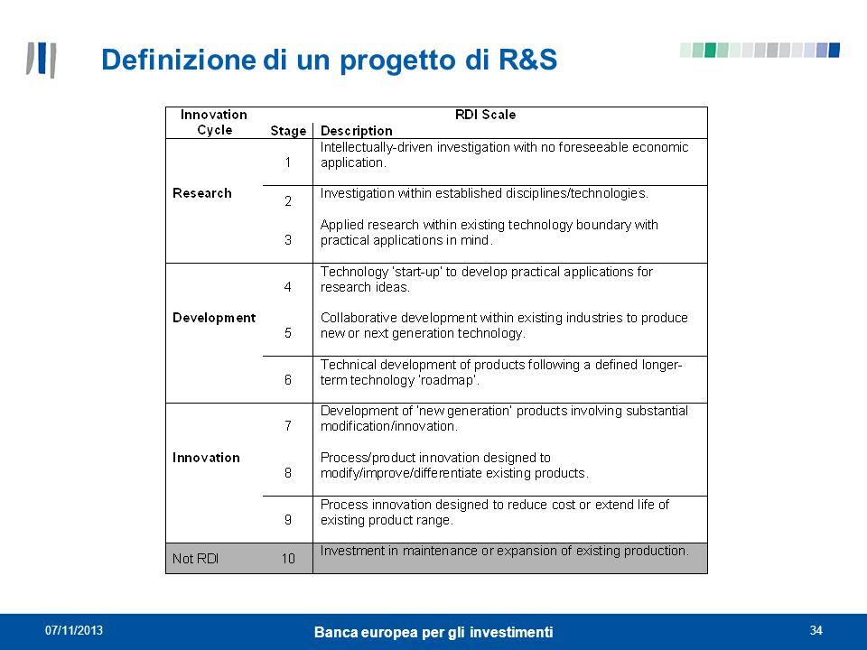 07/11/201334 Banca europea per gli investimenti Definizione di un progetto di R&S