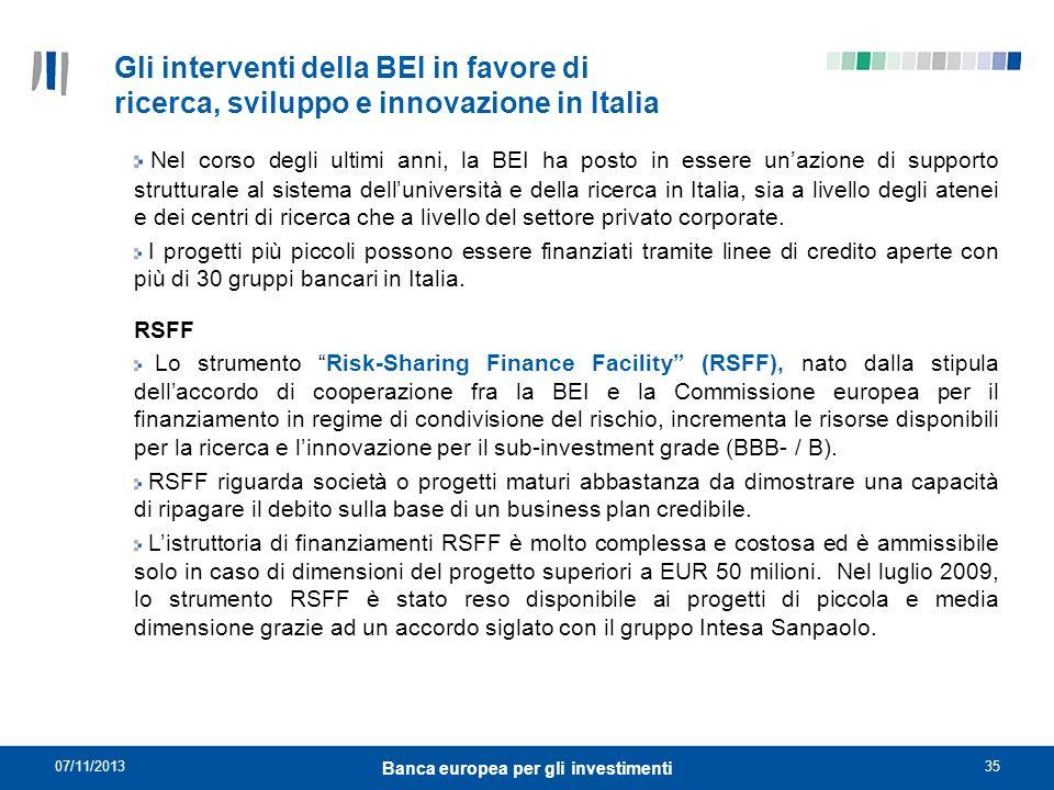 07/11/201335 Banca europea per gli investimenti Gli interventi della BEI in favore di ricerca, sviluppo e innovazione in Italia Nel corso degli ultimi