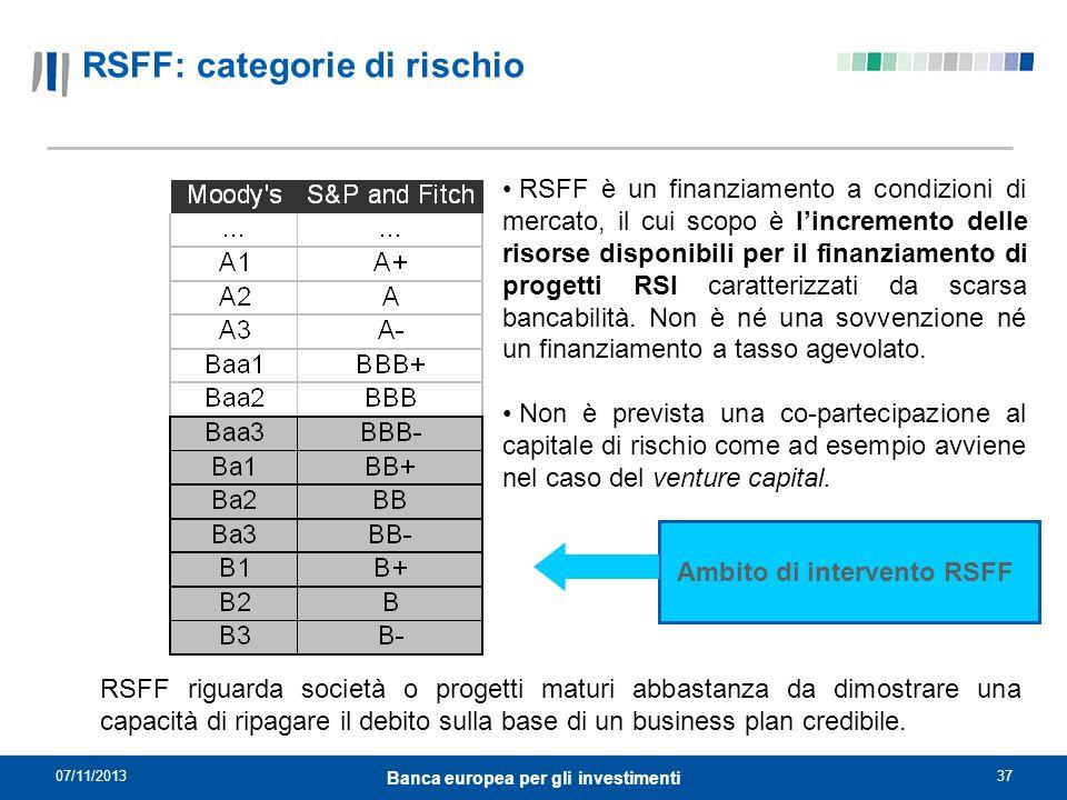 07/11/201337 Banca europea per gli investimenti Ambito di intervento RSFF RSFF è un finanziamento a condizioni di mercato, il cui scopo è lincremento