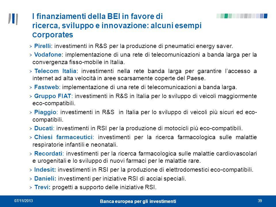 07/11/201339 Banca europea per gli investimenti I finanziamenti della BEI in favore di ricerca, sviluppo e innovazione: alcuni esempi C orporates Pire