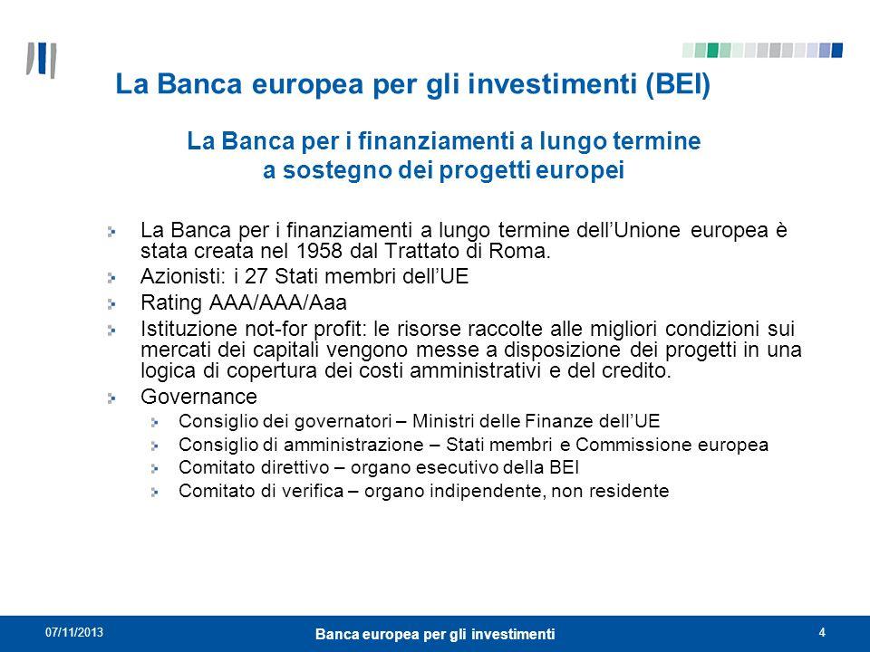 07/11/20134 Banca europea per gli investimenti La Banca europea per gli investimenti (BEI) La Banca per i finanziamenti a lungo termine dellUnione eur