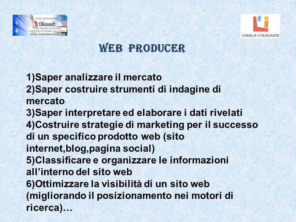 Web Producer 1)Saper analizzare il mercato 2)Saper costruire strumenti di indagine di mercato 3)Saper interpretare ed elaborare i dati rivelati 4)Cost