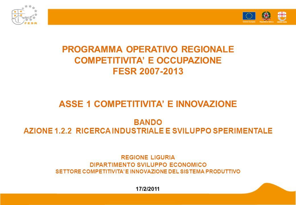 PROGRAMMA OPERATIVO REGIONALE COMPETITIVITA E OCCUPAZIONE FESR 2007-2013 ASSE 1 COMPETITIVITA E INNOVAZIONE BANDO AZIONE 1.2.2 RICERCA INDUSTRIALE E S