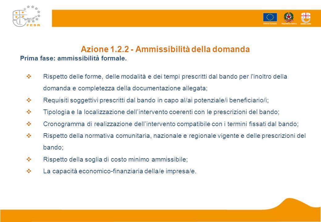 Azione 1.2.2 - Ammissibilità della domanda Prima fase: ammissibilità formale. Rispetto delle forme, delle modalità e dei tempi prescritti dal bando pe