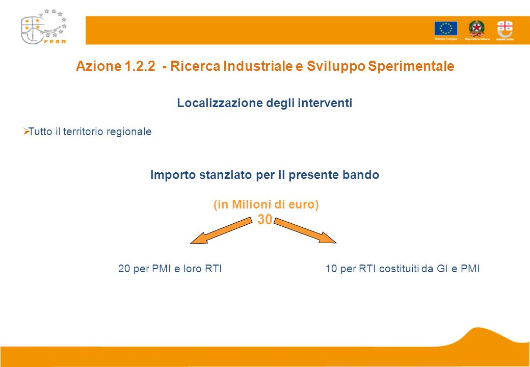 Azione 1.2.2 - Ricerca Industriale e Sviluppo Sperimentale Localizzazione degli interventi Tutto il territorio regionale Importo stanziato per il pres