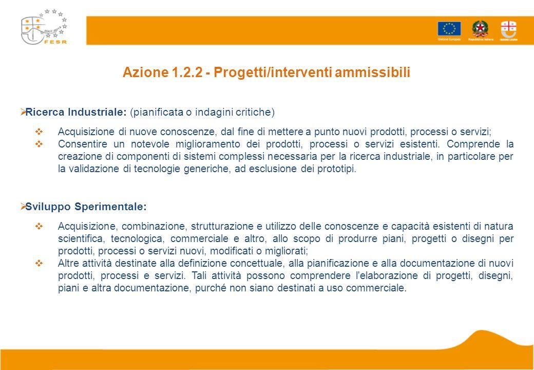 Azione 1.2.2 - Progetti/interventi ammissibili Ricerca Industriale: (pianificata o indagini critiche) Acquisizione di nuove conoscenze, dal fine di me