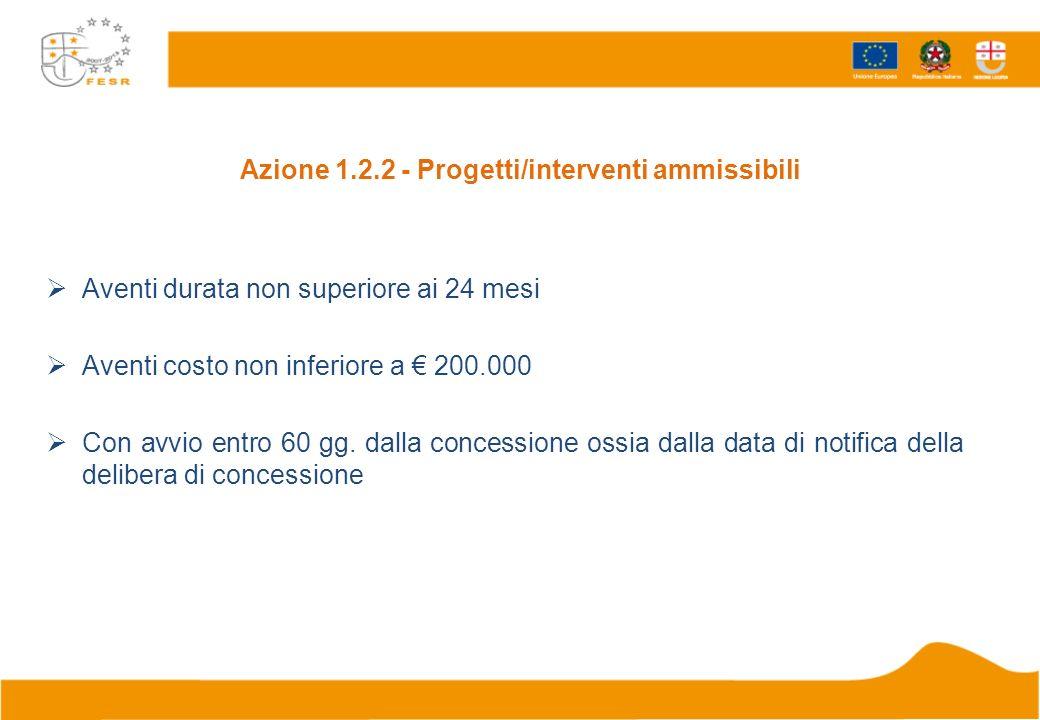 Azione 1.2.2 - Progetti/interventi ammissibili Aventi durata non superiore ai 24 mesi Aventi costo non inferiore a 200.000 Con avvio entro 60 gg. dall