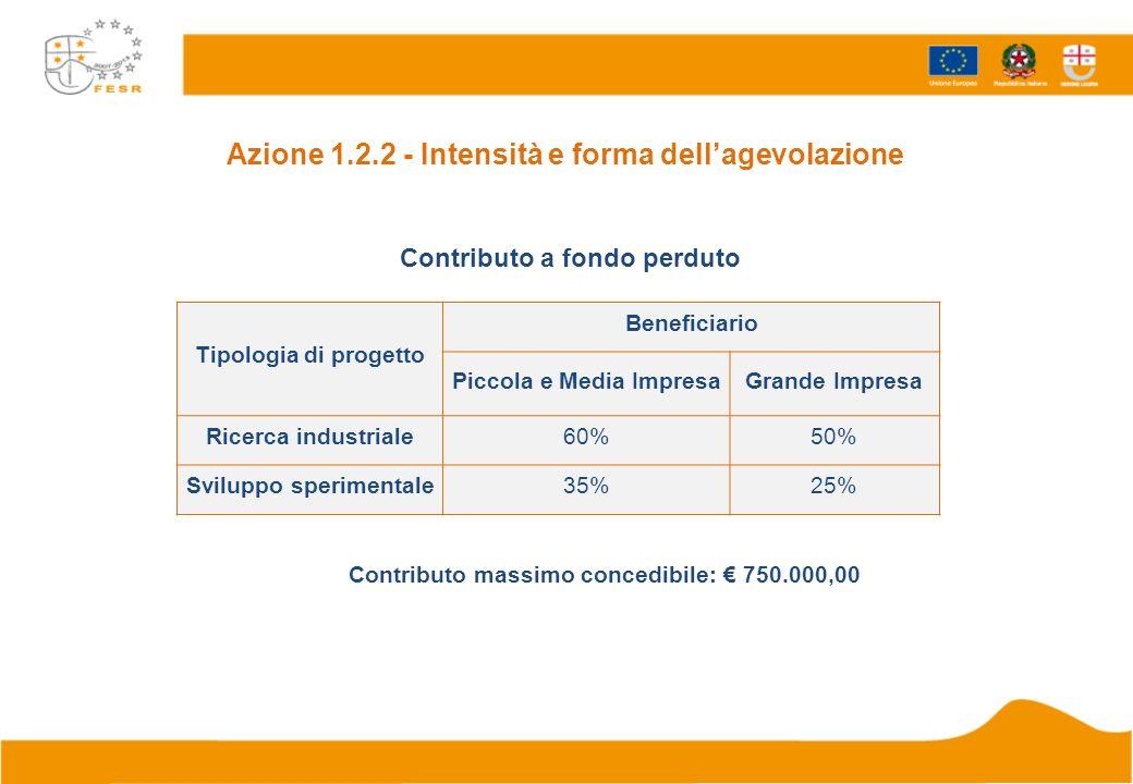 Tipologia di progetto Beneficiario Piccola e Media ImpresaGrande Impresa Ricerca industriale60%50% Sviluppo sperimentale35%25% Contributo massimo conc