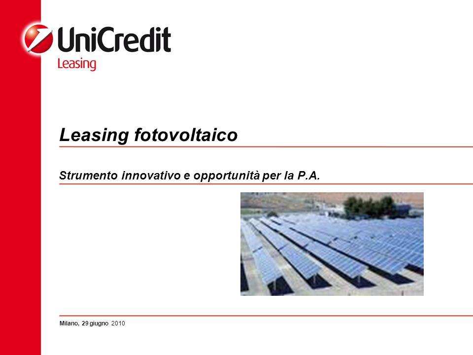 Leasing fotovoltaico Strumento innovativo e opportunità per la P.A. Milano, 29 giugno 2010