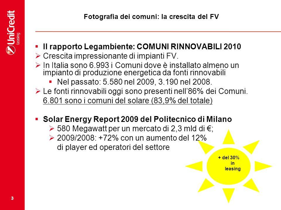 33 Fotografia dei comuni: la crescita del FV Il rapporto Legambiente: COMUNI RINNOVABILI 2010 Crescita impressionante di impianti FV. In Italia sono 6