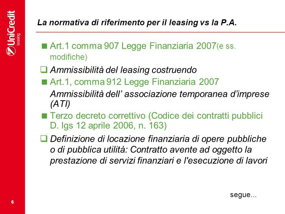 66 La normativa di riferimento per il leasing vs la P.A. Art.1 comma 907 Legge Finanziaria 2007 (e ss. modifiche) Ammissibilità del leasing costruendo