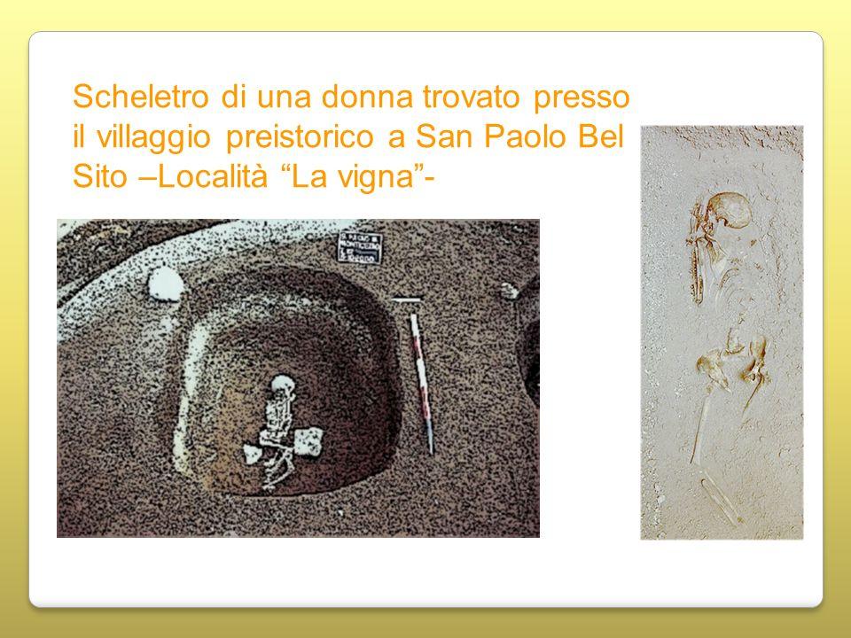 Scheletro di una donna trovato presso il villaggio preistorico a San Paolo Bel Sito –Località La vigna-