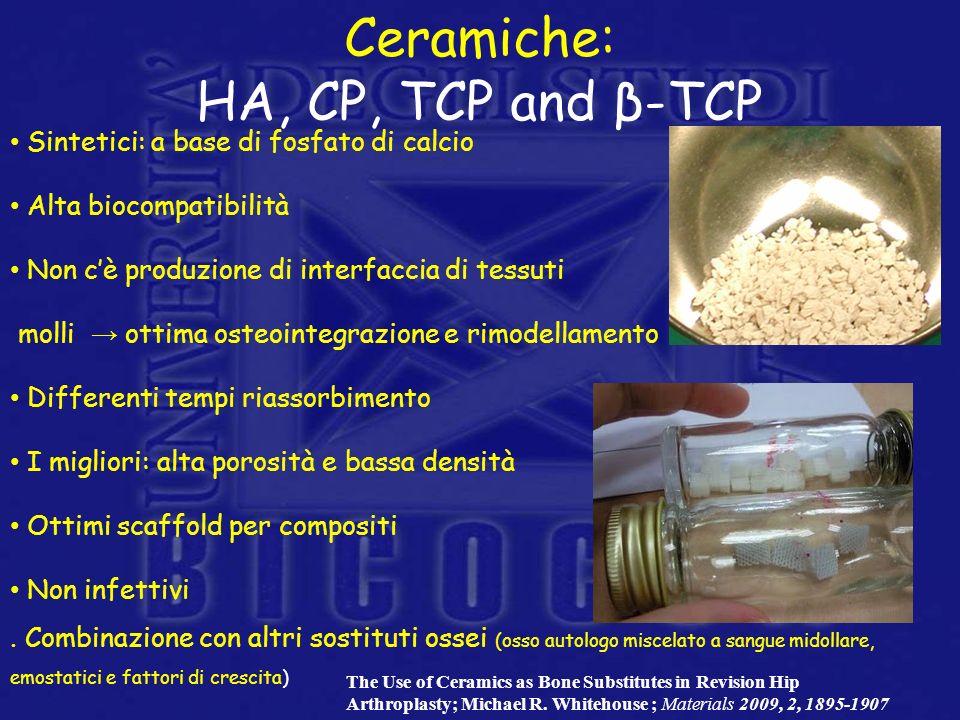 Sintetici: a base di fosfato di calcio Alta biocompatibilità Non cè produzione di interfaccia di tessuti molli ottima osteointegrazione e rimodellamen