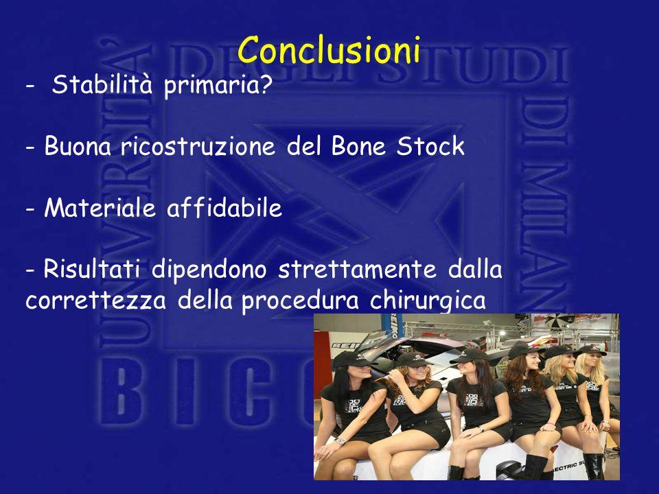 - Stabilità primaria? - Buona ricostruzione del Bone Stock - Materiale affidabile - Risultati dipendono strettamente dalla correttezza della procedura
