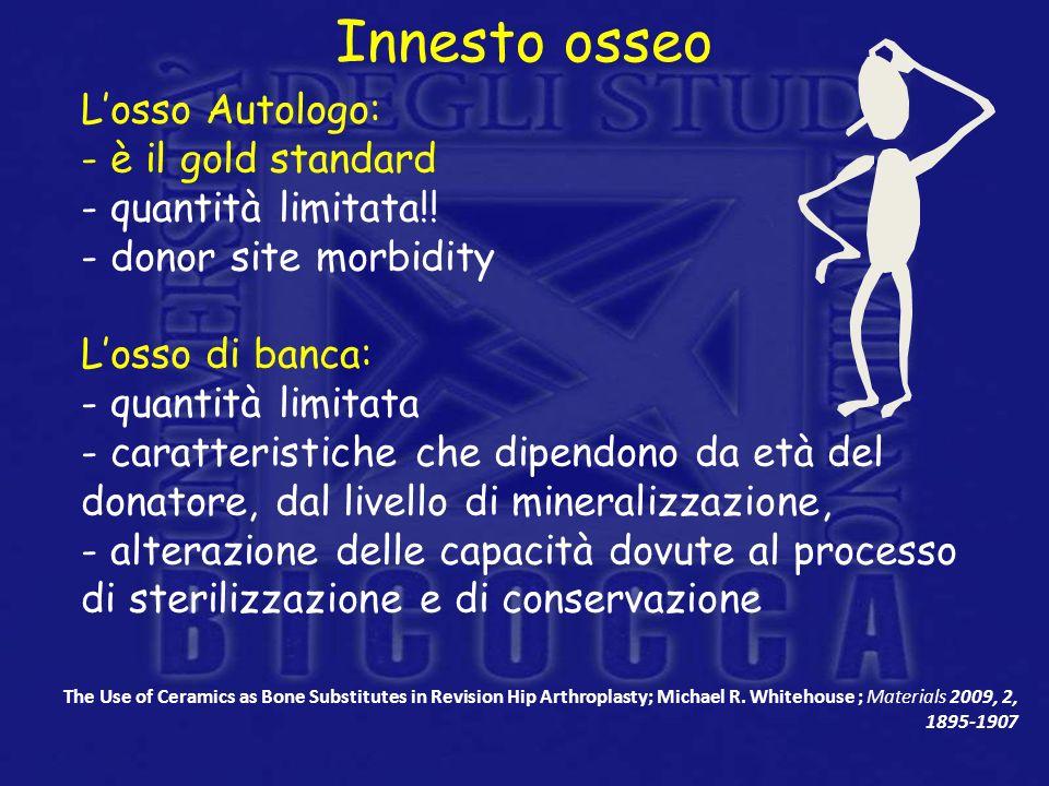Innesto osseo Losso Autologo: - è il gold standard - quantità limitata!! - donor site morbidity Losso di banca: - quantità limitata - caratteristiche