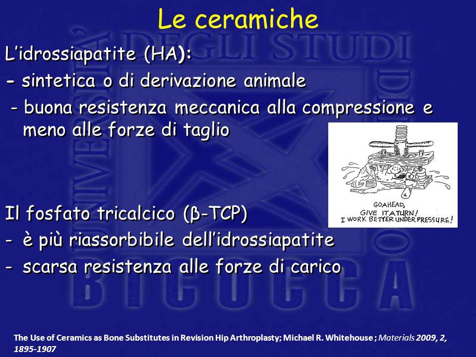 Lidrossiapatite (HA): - sintetica o di derivazione animale - buona resistenza meccanica alla compressione e meno alle forze di taglio Il fosfato trica
